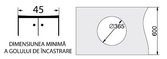 Chiuveta Pyramis  CR BLAT ROTUNDA- dimensiuni