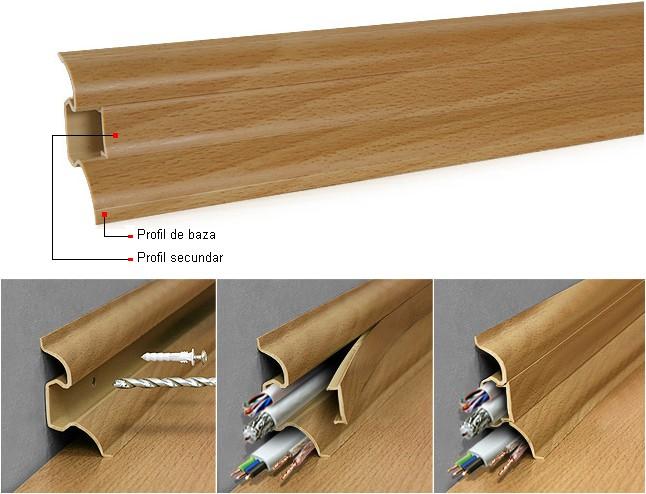 PLINTA PARCHET SMART DIN PVC CU PATCABLU